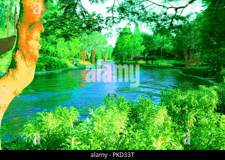 A magical blue lagoon traverses a profusely green forest/enchanted garden full of grass, plants and pine trees on a beautiful sunny day. Perspective. - Stock Photo