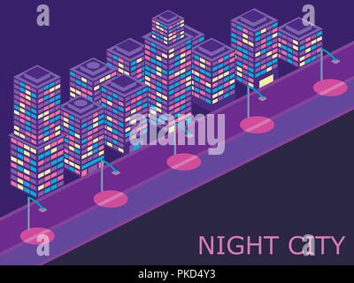 Urban landscape with isometric buildings lanterns and road. Violet color. Vector illustraion - Stock Photo