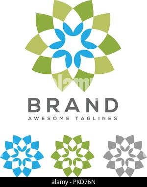 colorful flower outline logo template floral illusion logo minimal