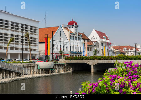 Historical colonial buildings, Old Batavia, Jakarta, Java, Indonesia - Stock Photo