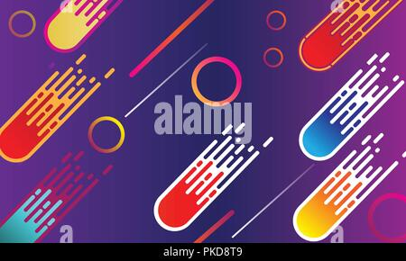 Comets have united and fly to conquer outer space. Abstract particles background. Vector illustration. - Stock Photo