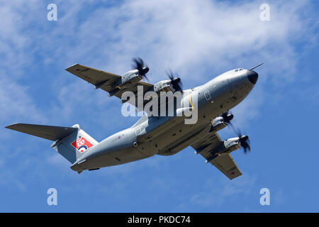 British Royal Air Force Airbus A400M Atlas Tactical Airlifter arrives overhead RAF Fairford to participate in the Royal International Air Tattoo