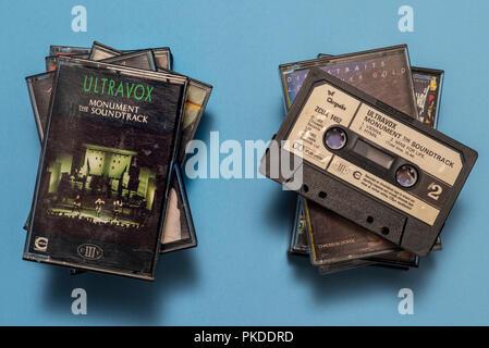 compact audio cassette of Ultravox, Monument soundtrack album with art work. - Stock Photo