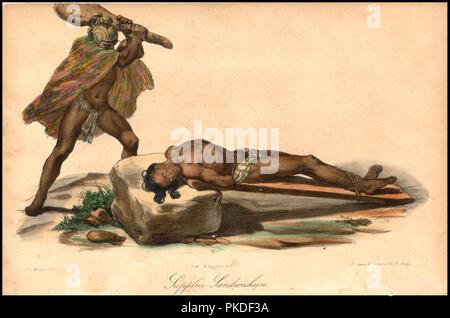 Human sacrifice, Hawaiian sacrifice, from Jacques Arago's account of Freycinet's travels around the world from 1817 to 1820 - Stock Photo