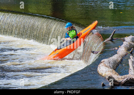 LLANGOLLEN WALES UNITED KINGDOM - SEPTEMBER 2ND 2018: White water kayaker canoeing over the horseshoe falls on the River Dee - Stock Photo