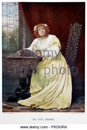 Eva Moore portrait, 1868 – 1955, was an English actress. Her career on stage and in film spanned six decades, and she was active in the women's suffrage movement. Colour illustration from 1899. - Stock Photo
