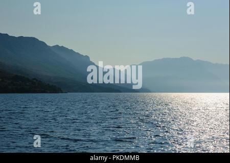 the waters of the Adriatic Sea off the coast of central Dalmatia - Stock Photo