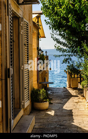 a charming corner in a small town on the Adriatic Sea - Stock Photo