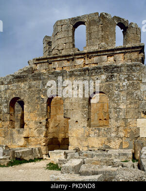 Church of Saint Simeon Stylites. It was built on the site of the pillar of St. Simeon Stylites. Byzantine style. The baptistry. Mount Simeon. Aleppo. Syria. Historical photography (before the Syrian Civil War). - Stock Photo