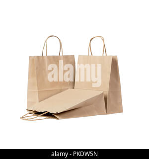 Recyclable paper bags isolated on white background. - Stock Photo