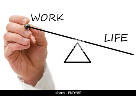 Closeup of hand balancing work and private life. - Stock Photo