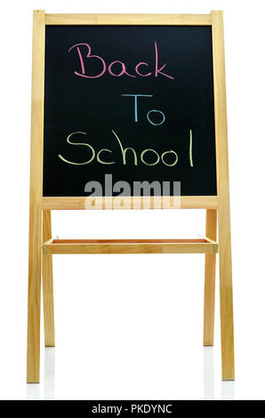 Black board with text Back to School written in various colors. Isolated over white background. - Stock Photo