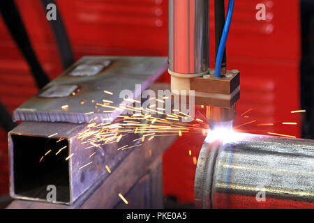 Close up shot of plasma welding and sparks - Stock Photo