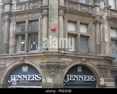 Close-up of a facade of Jenners, on the corner of St David St and Rose St; Edinburgh's famous department store, 'the Harrods of the North'. - Stock Photo
