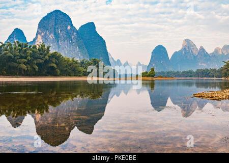 Sunrise view of Li River by Xingping. China. - Stock Photo