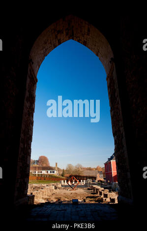 The medieval Abbey of the Prince-Bishops of Stavelot in the Eastern Cantons (Belgium, 15/11/2011) - Stock Photo