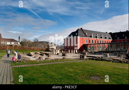 The foundations of the abbey church of the Abbey of the Prince-Bishops of Stavelot in the Eastern Cantons, formerly St. Remacle abbey (Belgium, 23/02/ - Stock Photo