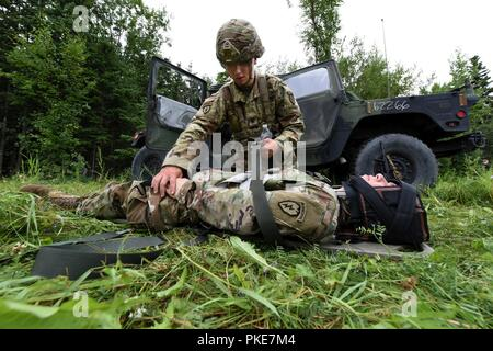 """U.S. Army Sgt. Steven Gildersleeve from Charlie Company, 725th Brigade Support Battalion (Airborne), 4th Infantry Brigade Combat Team (Airborne), 25th Infantry Division, secures a simulated patient with a suspected spinal injury July 26, 2018 at Joint Base Elmendorf-Richardson, Alaska. The """"Cobra Medics"""" conducted a four day challenge to select two medics to be sent as competitors to the USARAK best medic competition. - Stock Photo"""