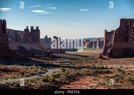 The Arches Scenic Drive road winds through Arches National Park near Moab Utah, USA. - Stock Photo