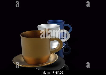 Coffee mugs 3D - Stock Photo