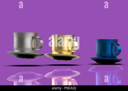 Coffee mugs flying 3D - Stock Photo
