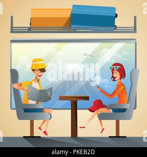Couple tourists traveling by train together. School students group going on summer holiday road trip with Fuji Mountain background. Flat style vector illustration - Stock Photo