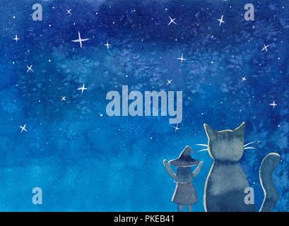Witch and Cat under Blue Galaxy Night Sky Watercolor. Illustration Background. - Stock Photo