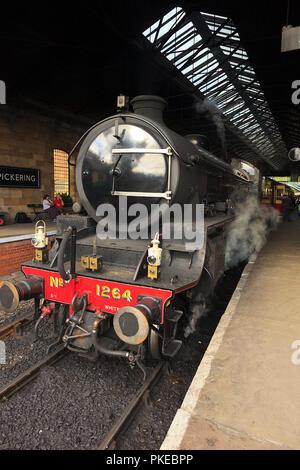 NYMR Steam Locomotive No. 1264 standing in Pickering Station - Stock Photo