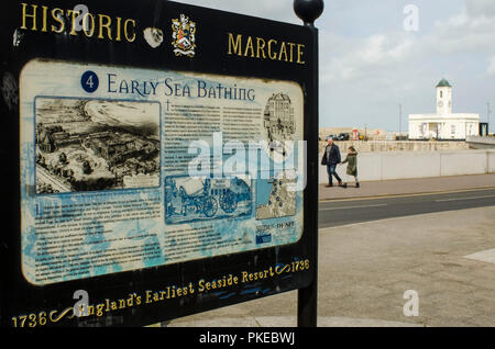 Sign advertising historical aspects of Early Sea Bathing; Margate, Thanet, Kent - Stock Photo