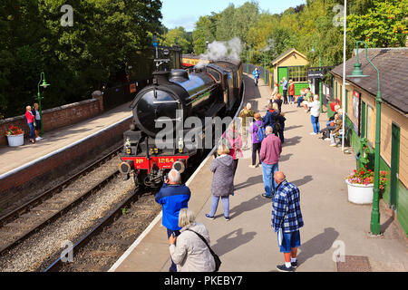 NYMR Steam Locomotive No. 1264 entering Pickering Station - Stock Photo