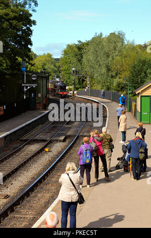 NYMR Steam Locomotive No. 1264 approaching Pickering Station - Stock Photo