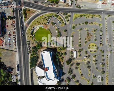 Museo de Arte de Sonora, MUSAS. Estacionamiento de MUSAS.  Paisaje urbano, paisaje de la ciudad de Hermosillo, Sonora, Mexico. Urban landscape, landsc - Stock Photo