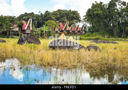 Landscape with traditional Tongkonan houses in Tana Toraja highlands near Batutumongi village. South Sulawesi, Indonesia - Stock Photo