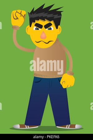 Yellow man making power to the people fist gesture. Vector cartoon illustration. - Stock Photo