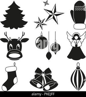 Black and white 9 xmas elements set. - Stock Photo