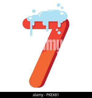 The figure is 7 in the snow. Number seven for the new year, Christmas, winter. Flat vector illustration - Stock Photo