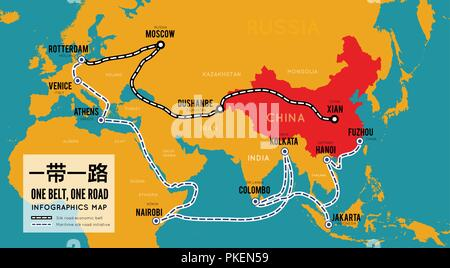 One belt one road. New Chinese trade silk road. Vector map infographics - Stock Photo