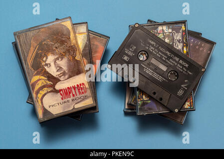 compact audio cassette of Simply Red, Picture Book album with art work. - Stock Photo