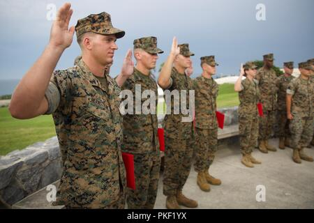 From left to right: Cpl. Isaiah G. Bernstein, Cpl. Alexander J. Kraska, Cpl. Matthew A. Schooley, Cpl. Andrew M. Rief, and Petty Officer 3rd Class Emily A. Clemmer reaffirm their oath of enlistment during a promotion ceremony at Camp Courtney, Okinawa, Japan, Aug. 2, 2018. The Marines and Sailor were meritoriously promoted to the next rank by the III Marine Expeditionary Force commanding general and sergeant major. - Stock Photo