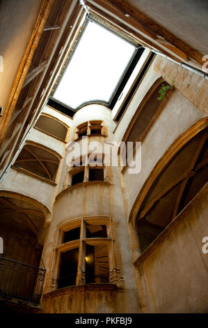 the historic passageway traboule in the rue Saint-Jean No. 26, in Lyon (France, 07/12/2009) - Stock Photo