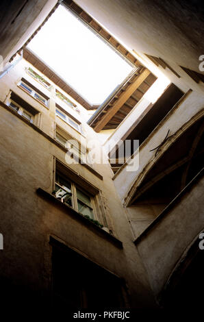 the historic passageway traboule in the rue Saint-Jean No. 26, in Lyon (France, 20/10/2007) - Stock Photo