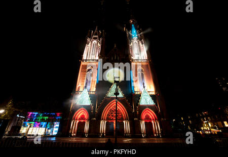 The Eye Of Time installation from Cozten at the Glow Lightfestival in Eindhoven (Holland, 10/11/2013) - Stock Photo