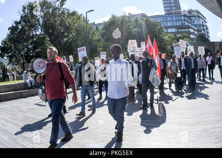 City Hall, London, UK. 13th Sep 2018. The United Private Hire Drivers and IWGB - Independent Workers Union of Great Britain demonstration Say NO to Mayor of London and TfL plan to make minicab drivers pay £11.50 per day in congestion charging at City Hall on 13 September 2018, London, UK. Credit: Picture Capital/Alamy Live News - Stock Photo