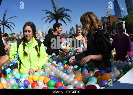 London, UK. 13th September 2018. 'Say Balls to Boring' ball pool in association with Virgin Holidays will be at Observation Point on the Southbank between 11am to 7pm on Thur Sep 13 and 9am to 6pm on Fri Sep 14. Credit: Picture Capital/Alamy Live News - Stock Photo