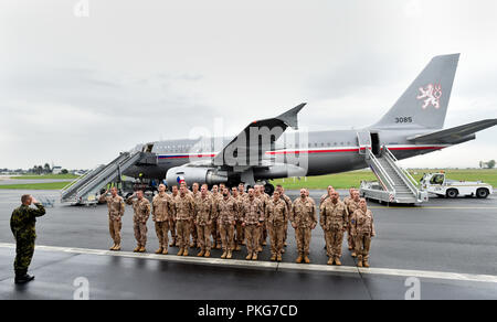 Arrival of military plane with soldiers returning from foreign mission in Mali in Prague - Kbely airport, Czech Republic, September 13, 2018. (CTK Photo/Vit Simanek) - Stock Photo