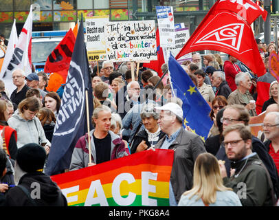 13 September 2018, North Rhine-Westphalia, Essen: 13 September 2018, Germany, Essen: People gather for a demonstration under the motto '#WIRSINDMEHR - Standing up against right-wing agitation'. The left-wing alliance has called for participation 'Essen steht sich quer'. The reason is the xenophobic marches in Chemnitz. Photo: Roland Weihrauch/dpa - Stock Photo