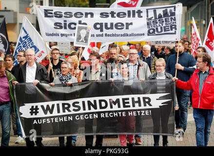 13 September 2018, North Rhine-Westphalia, Essen: 13 September 2018, Germany, Essen: Demonstrators protest under the motto '#WIRSINDMEHR - Standing up against right-wing agitation'. The left-wing alliance has called for participation 'Essen resists'. The reason is the xenophobic marches in Chemnitz. Photo: Roland Weihrauch/dpa - Stock Photo