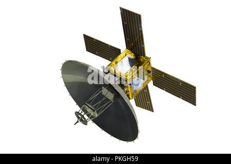 Satellite with solar panels, isolated on white background - Stock Photo
