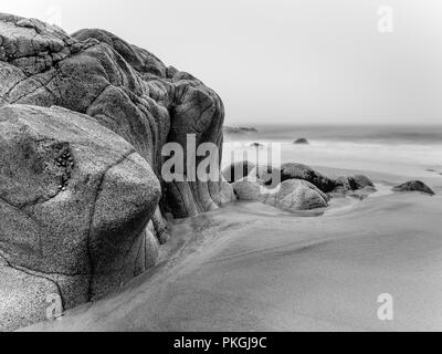 Rock formation on Porth Nanven beach, Cornwall - Stock Photo