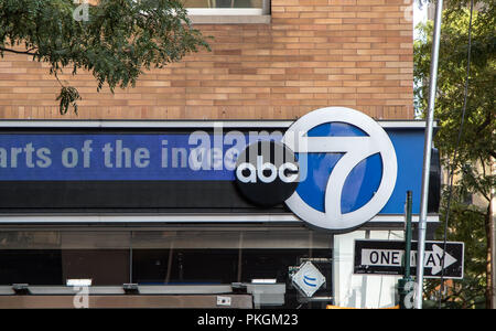 New York, August 30, 2016: The ABC and Channel 7 sings on the ABC office building in Manhattan. - Stock Photo